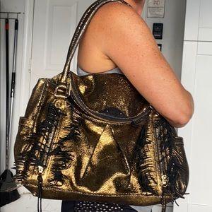Botkier gold metallic black leather shoulder bag